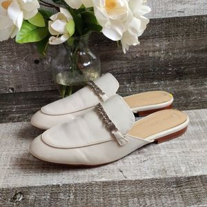 Marc Fisher patent white leather chain slides